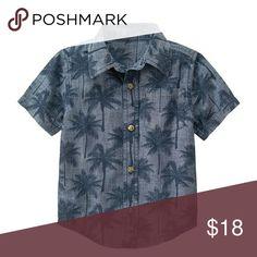 Gymboree Palm Shirt 100% cotton chambray Button front Front pocket Allover print Shirttail hem Back pleat Machine wash Gymboree Shirts & Tops