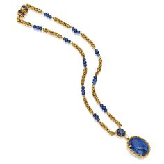 18 KARAT GOLD, SAPPHIRE AND DIAMOND NECKLACE, VAN CLEEF & ARPELS. 10 x 8 mm sapphire over 24 x 17 cabochon sapphire  w/ 5.6mm chain & sapphire beads