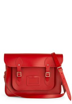 Cambridge Satchel Upwardly Mobile Satchel in Red - 14 inch. This ultra stunning, versatile carmine bag designed by The Cambridge Satchel Company in the UK, is absolutely saturated with style. #red #modcloth