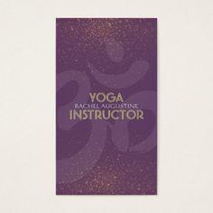 Yoga Meditation Instructor Om Symbol Purple & Gold Business Card