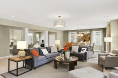 Dining and living room of the Dartmouth Model at Country Pointe North Bellmore