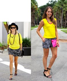 Inspiration: Reese- bright yellow blouse, black & white shorts and a pop of pink from J's Everyday Fashion!