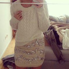 Comfy sweater, bling skirt