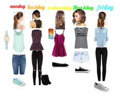 Days Of The Week Outfits by gdjamba on Polyvore featuring Carmakoma, Mother of Pearl, Rip Curl, Frame Denim, Miss Selfridge, MANGO, Converse, Kate Spade, Boohoo and L. Erickson