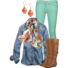 Mint green, denim shirt and boots