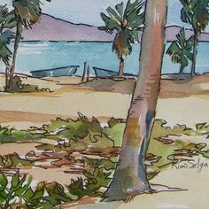 La Playa The Beach Large print of palms islands sea sand | Etsy Tree Paintings, Original Paintings, Watercolor Paper, Watercolor Paintings, Palmiers, Sea Birds, Limited Edition Prints, Image Shows, Beach Day