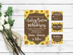 Wedding stationary is elevated to a rustic wedding invitation suite with the addition of you and your loved ones names and wedding ceremony information. This downloadable invitation captures the romantic excitement of weddings with the use of hand drawn fonts, rustic backgrounds, and watercolored sunflowers. These invitations are designed on digital paper and easily printed DIY style by brides. Our invitations are highly cherished by brides who love the rustic style and will become a…
