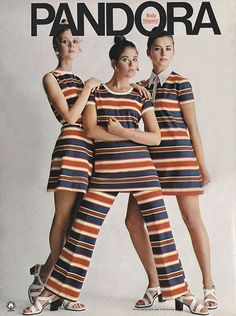 Terry Reno Colleen Corby Regine Jaffry February 1970. 'The big bold beautiful band-its! Pandora's gala gang-up of knits of the purest 100% cotton!'