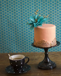 Gold and Teal Petite Cake