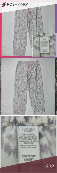 Victoria's Secret pajama bottoms cheetah print XS Great Condition. Used. Victoria's Secret pajama bottoms cheetah print pants white and purple with pink glitter drawstring size XS. No rips, stains, or holes.   Measured from front, flat.   Measurements:   Waist - 13 inch.   Hip - 18 inch.   Thigh - 11 inch.   Rise - 7 inch.   Leg Opening - 8 inch.   Outseam - 34 inch.   Inseam - 28 inch.   - Bundle and save in my closet.  - I ship the same day depending on the time of purchase. Otherwise, the…