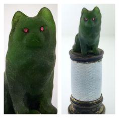 Antique Jade Dog or Cat On Guilloche Enamel Brass Wax Seal Paperweight Desktop