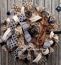 Deco Mesh Burlap Cross Black & White Ruffle Wreath by Dawslyn Decor on Facebook & Etsy