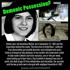 The Exorcism of Anneliese Michel The real 'Emily Rose'. July Twenty-three year old Anneliese Michel died from malnutriti. Anneliese Michel, Creepy Stories, Ghost Stories, Horror Stories, True Stories, Emily Rose, Creepy Facts, Fun Facts, Creepy Stuff