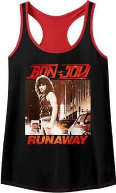 c82afa607d7bee This women s Bon Jovi tank top tshirt displays the album cover artwork from  Runaway