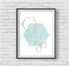 Mint & Gold Art Mint Honeycomb Print Hexagon Art by PrintAvenue