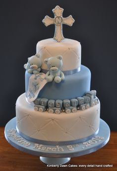 Baptism Cake - Chocolate cake with mocha buttercream.