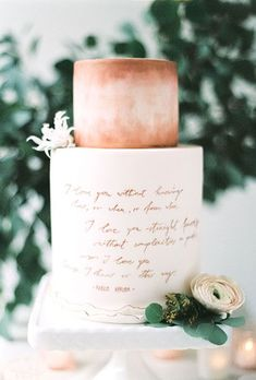 Fall Wedding Cakes: Bronze and White Cake with Writing and Flowers | Brides.com