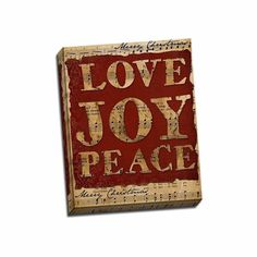 Picture It On Canvas 'Love Joy Peace' Multicolored Wrapped Canvas Artwork