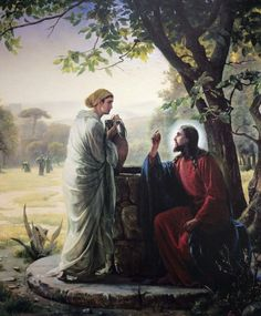 Jesus and the woman at the well.