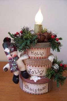 Snowman Candle Stack......found this cute stack of boxes and turned it into a holiday lamp.