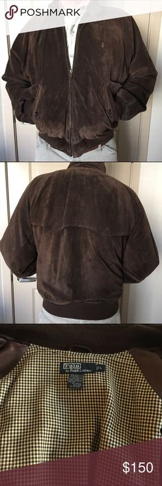Polo suede jacket sz large Polo by ralph lauren chocolate brown suede mens jacket 2 front pockets one interior worn twice exc cond from pet smoke free home Polo by Ralph Lauren Jackets & Coats Bomber & Varsity
