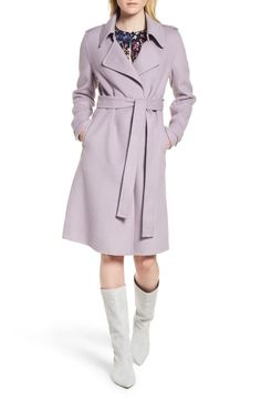 3b132d73a7c Badgley Mischka Double Face Wool Blend Wrap Front Coat (Regular   Petite)