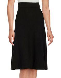 H Halston A-Line Knit Skirt Women's Black Large
