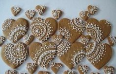Lace heart cookies - gorgeous detailing for wedding favours and canapes