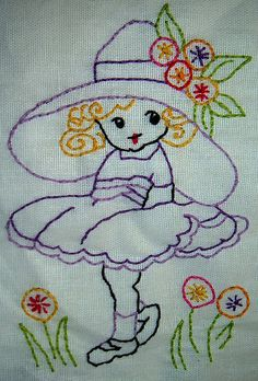 Girl in Hat Embroidery — Sentimental Stitches Pattern Embroidery Stitches Patterns Basic Embroidery Stitches, Hand Embroidery Videos, Hand Embroidery Tutorial, Embroidery Flowers Pattern, Embroidery Works, Crewel Embroidery, Hand Embroidery Designs, Vintage Embroidery, Embroidery Techniques