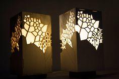 Table lamp, Laser cut playwood,Lighting Design,Designer light, Japanese-style light,Voronoi & Delaunay table light