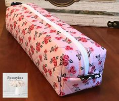 Pretty Pink flowers with black accents print long zippered case with handle for toiletries or pencils pens Black Accents, Paint Brushes, Pretty In Pink, Pink Flowers, Pens, Cotton Fabric, Handle, Gift Wrapping, Zipper