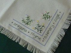 Luncheon Tablecloth Cross Straight Stitching by EauPleineVintage