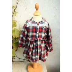 Smuk skjorte KJOLE med broderi str. 80, upcyclet genbrug