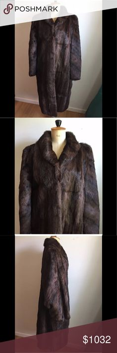 Gorgeous Authentic full length Mink Fur Coat Gorgeous Authentic brown-black full length Mink Fur Coat Extremely soft and luxurious  Wonderfully plush, velvety texture Brown and black 4 hook-eye closures at front Two front hip pockets Size extra-large (please see measurements)  Shoulder to shoulder 18 in Sleeves-underarm to cuff 17 in Sleeve-outside neck seem to cuff 26 in Underarm to underarm across back 26 in Top of collar to bottom 47 in Sweep 32 in Across the waist 24-1/2 in Across the…