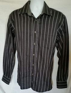 Bugatchi Uomo Casual Dress Shirt Classic Fit Size L Large Textured Striped #BugatchiUomo #ButtonFront