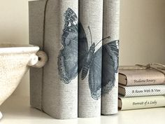 Butterfly books, Decorative books with butterfly custom covers, Books for Interior Design, Custom book jackets, Book Cover Art, Book Decor