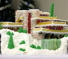 Frank Lloyd Wright Mid-Century Modern  Falling Water Gingerbread House