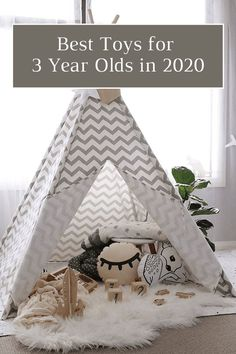 Let's take a peek at the Best Toys for 3 Year Olds. The toys that are fun but also help them learn and grow throughout their fun toddler years. Kids Teepee Tent, Indoor Camping, Bedroom Design Inspiration, 3 Year Olds, Playroom Decor, Playroom Ideas, Summer Activities For Kids, Preschool Ideas, Room Wallpaper