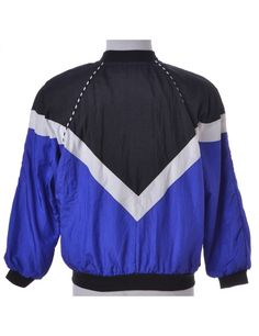 2f6974ae2 Vintage Beyond Retro Label Bomber Jacket Blue With A Ribbed Neck
