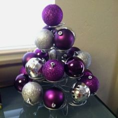 ornaments on cupcake stand.have the cupcake stand, have the extra ornaments. Purple Christmas, Noel Christmas, Winter Christmas, All Things Christmas, Christmas Ornaments, Winter Holidays, Christmas Balls, Silver Ornaments, Christmas Music