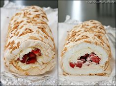 Pavlova Roulade with Strawberries and Mascarpone Cream