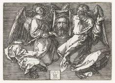 Albrecht Dürer | Twee engelen met de zweetdoek, Albrecht Dürer, 1513 | Twee engelen houden de zweetdoek van Veronica met de afdruk van het gelaat van Christus vast (het sudarium).