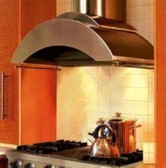 "Contemporary Series ZTH-248 SS 48"" Chimney Style  Wall Mount Range Hood With 600 CFM Internal Blower, Halogen Lighting, Glass Accents, Rail, Magic Lung Filter-Less, In Stainless Steel"