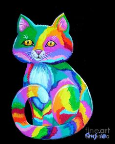 Colorful Kitten Painting by Nick Gustafson