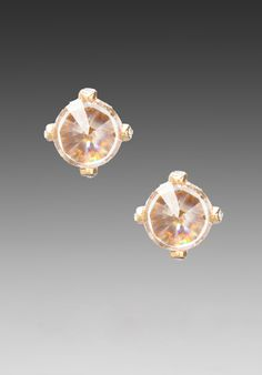 JUICY COUTURE Crystal Stud Earrings in Gold