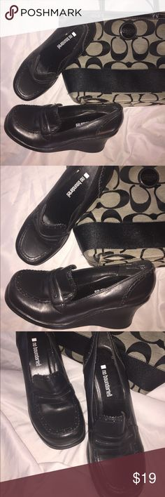 Wedge Loafers Black wedge loafers by No Boundaries.Heel is about 3 inches.A few minor scuff marks but in otherwise good condition.Comfortable for a heel. No Boundaries Shoes Wedges