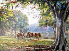 Imagenes de paisajes campesinos pintados con óleo sobre lienzo  Pinturas de campo El campesino en sus labores del campo  Campesinos en pi...