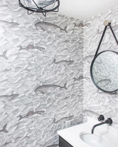 """Cole & Son on Instagram: """"Combine the delicately etched lines of the waves & whales within Melville 103/1004 with a monochromatic scheme like this bathroom designed…"""""""