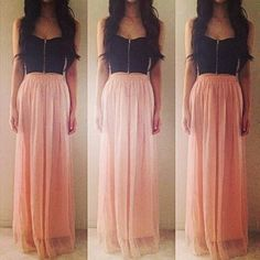 Love the maxi skirt color!