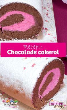 Een cakerol is zo'n recept waarbij je makkelijk overgebleven ingrediënten kunt opmaken. Deze chocolade cakerol bestaat uit een heerlijke brownie en aardbeienbotercrème. Mousse, Cupcakes, Baking, Birthday, Creative, Fun, Recipes, Cupcake Cakes, Birthdays